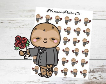 Sloth Planner Stickers // Date Night // Flowers // 009