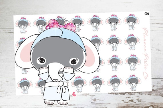 Emmie The Elephant Planner Stickers Spa Day Face Mask Etsy
