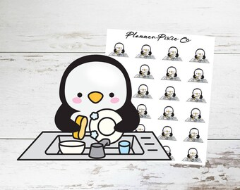 Penguin Planner Stickers // Wash Dishes // Chores // Housework