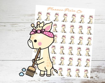 Giraffe Planner Stickers // Cleaning Day // 012