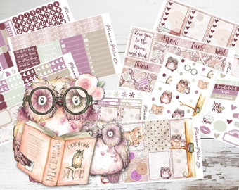"""Deluxe Kit // Vertical Planner Stickers - 8 Pages // Weekly Sticker Kit // For Use With Erin Condren Life Planner // """"Owl You Need Is Love"""""""