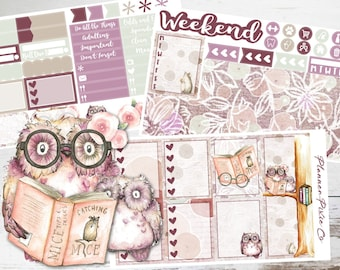 """Mini Kit // Vertical Planner Stickers - 3 Pages // Weekly Sticker Kit // For Use With Erin Condren Life Planner // """"Owl You Need is Love"""""""