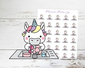 Unicorn Planner Stickers // Wash Dishes // Chores // Housework // 031