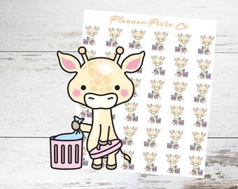 Giraffe Planner Stickers // Trash Day // Clean // 017