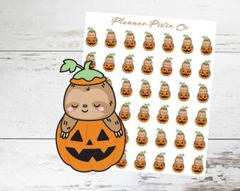 Sloth Planner Stickers // Halloween // Pumpkin // Jack O Lantern // 070