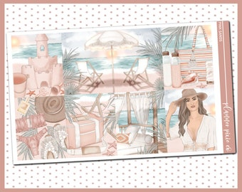 """Deluxe Weekly Sticker Kit For Use With Standard Vertical Planners, """"Pink Sands"""""""