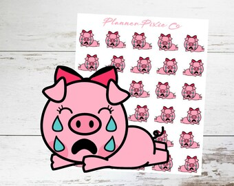 Pig Planner Stickers // Cry // Sad // Bad Day // 002
