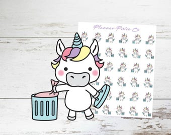 Unicorn Planner Stickers // Trash Day // Housework // Chores // 026