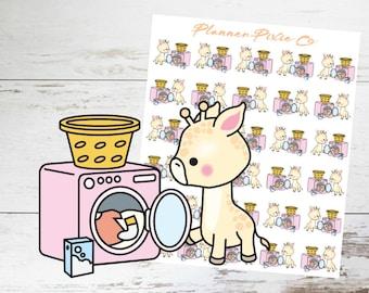 Giraffe Planner Stickers // Laundry // Housework // 005