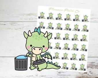 Dragon Planner Stickers // Trash Day // Cleaning // Housework // 011