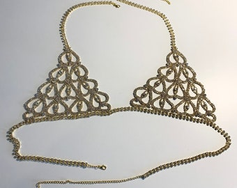 PRE-ORDER! Gold Rhinestone Crystal Bralette, Gold Tone Bra With Crystals, Lingerie (68)