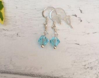 Swarovski Earrings. Small Drop Earrings. Crystal Earrings.  Blue Swarovski Crystal Sterling Silver Earrings