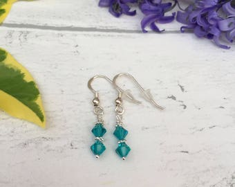 Swarovski Drop Earrings. Crystal Earrings. Swarovski Crystal Earrings. Blue Swarovski Crystal Earrings. Drop Earrings. Crystal Drop Earrings