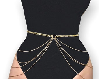 Women's Gold Waist Chain. Belt. Belly Chain. Skirt. Body Jewellery. Gift. (74)