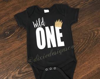 Wild One Monogram Birthday Shirt With Gold Crown