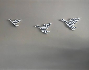 Trio of Flying Geese in Blue and White Geometric print
