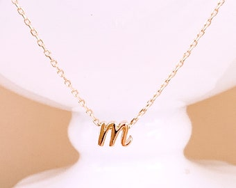 9dfb84138da Lower case Initial Necklace,Letter Necklace, Alphabet Necklace, Gold  Pendants Necklace,Personalized Graduation Gift for Her, Bridesmaid Gift