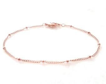 Satellite Chain Anklet / Simple Minimal Anklet / Beaded Anklet/ Perfect Layering Anklet / Silver, Gold, Rose Gold Anklet