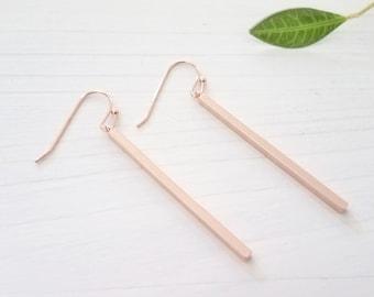 Skinny Rose Gold Bar Earrings Minimalist Stick Earrings, Everyday Earrings,Gift For Her