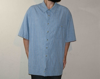 f96f8a074 Men's Vintage 1980's Canyon River Blues Short Sleeve Button Down Shirt,  Blue Checks, Cotton, Made In Bangladesh, Size 2XL