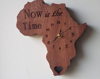 African Sapele Africa clock 'super-silent', non-ticking sweep second hand * Solid Wood *