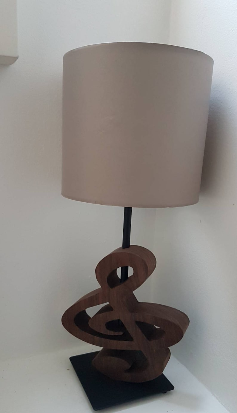 Musical Note Treble Clef quaver lamp carved from Solid walnut
