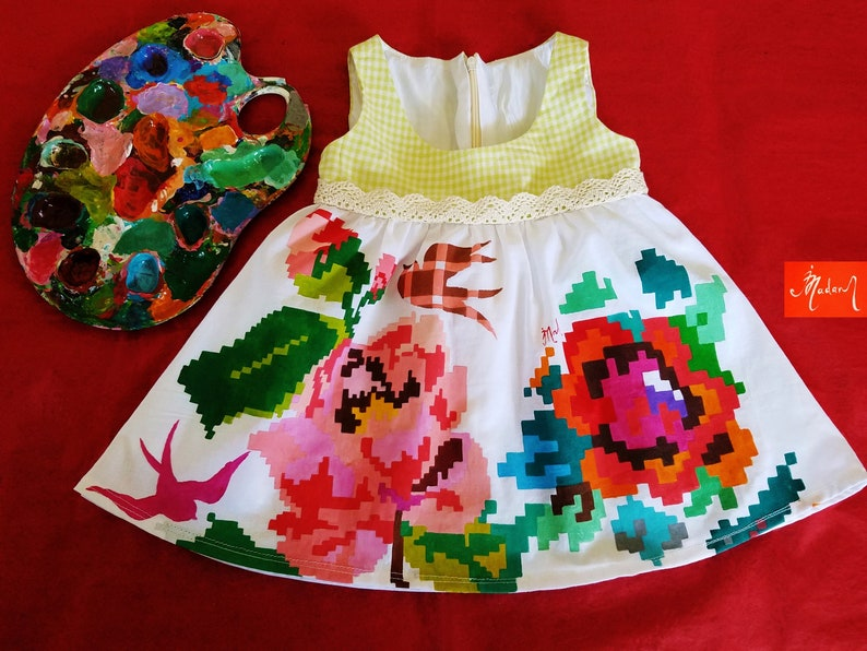Kids Dresses  100/% Handmade Dress by Irina MADAN Girls Dresses Hand Painted Baby Dresses