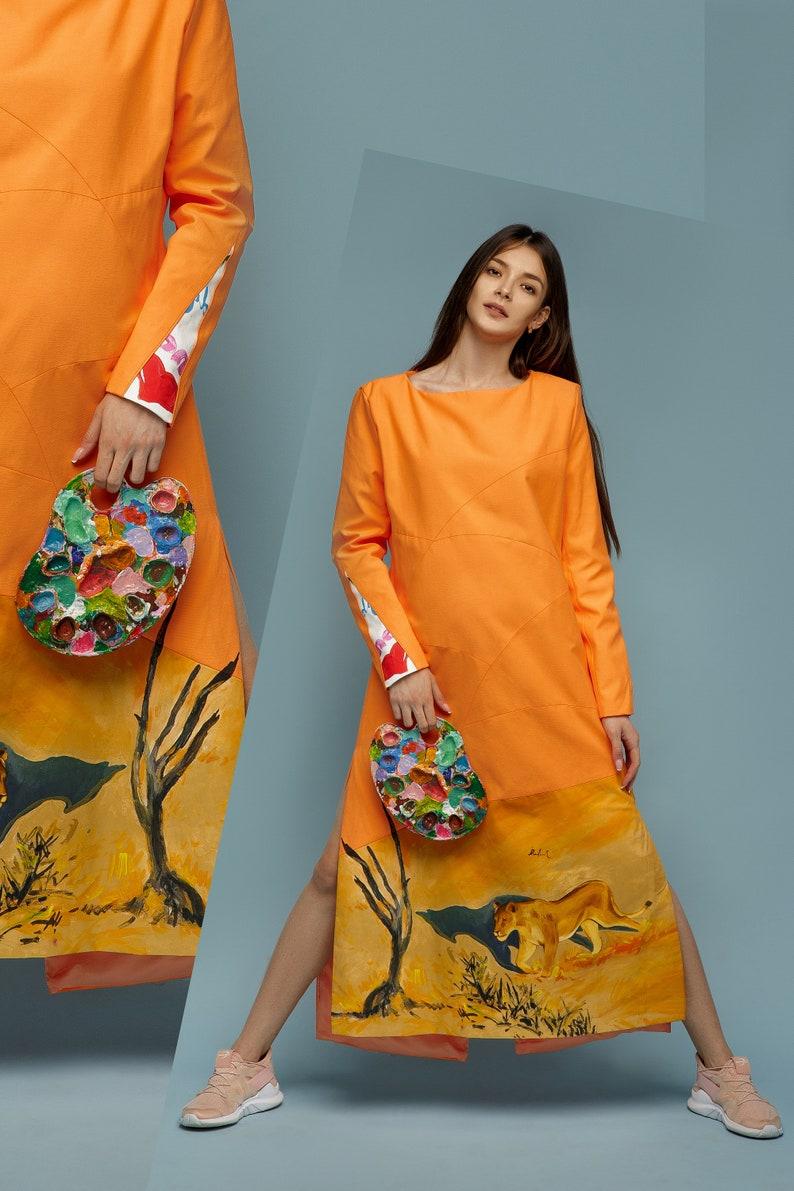 99ca84775 Hand Painted Full Length Dress Lion Clothing Dress Coat