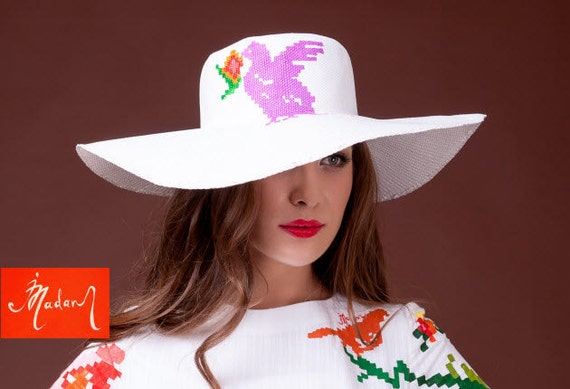 Hand Painted White Wedding Hat Beach Vacation Hat Floppy  1a3bd1046c7