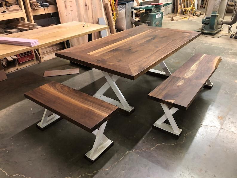 5e4b199e2f5c4 Custom Black Walnut Dining Table with Benches on Custom Steel