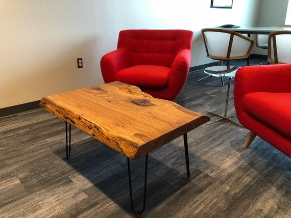 Live Edge White Oak Coffee Table On Hairpin Legs Etsy