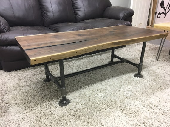 Live Edge Black Walnut Coffee Table On Industrial Iron Pipe Etsy