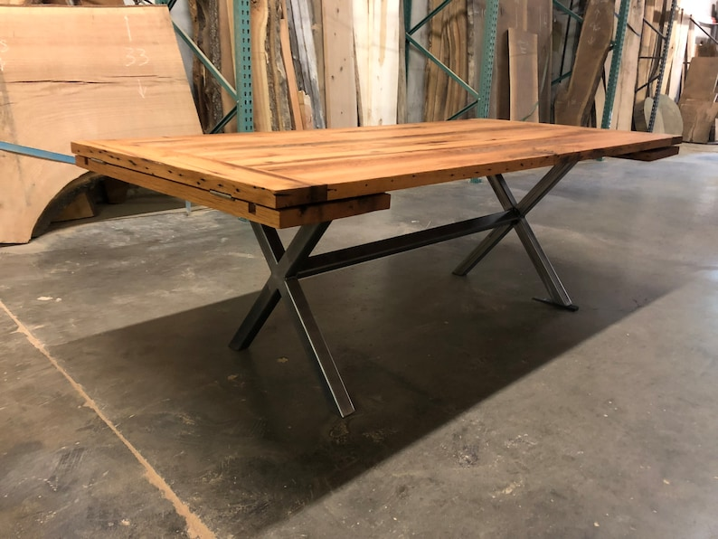 31d8736625247 Custom Expanding Dining Table with Custom Steel Table Base