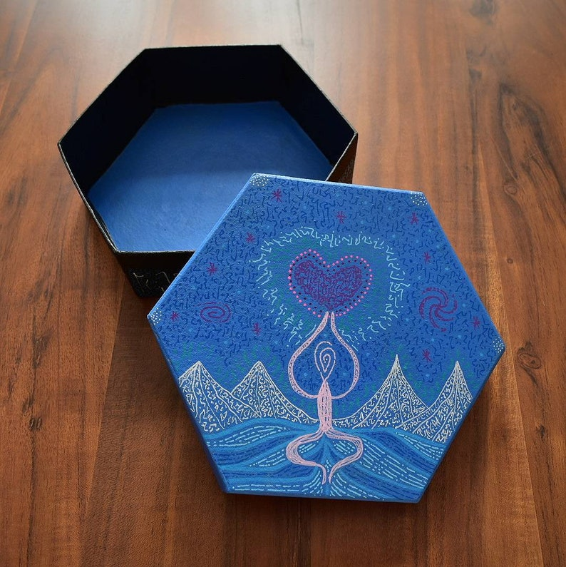 Love and Gratitude Altar Box Hand Painted Light Language Sacred Item  Storage Box One Off