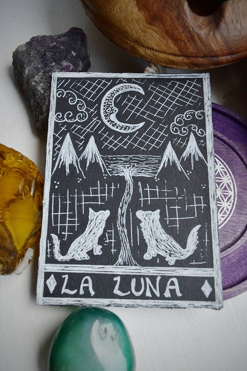 The Moon Tarot Card Hand Painted Original Artwork Wolf La Luna Oracle Card