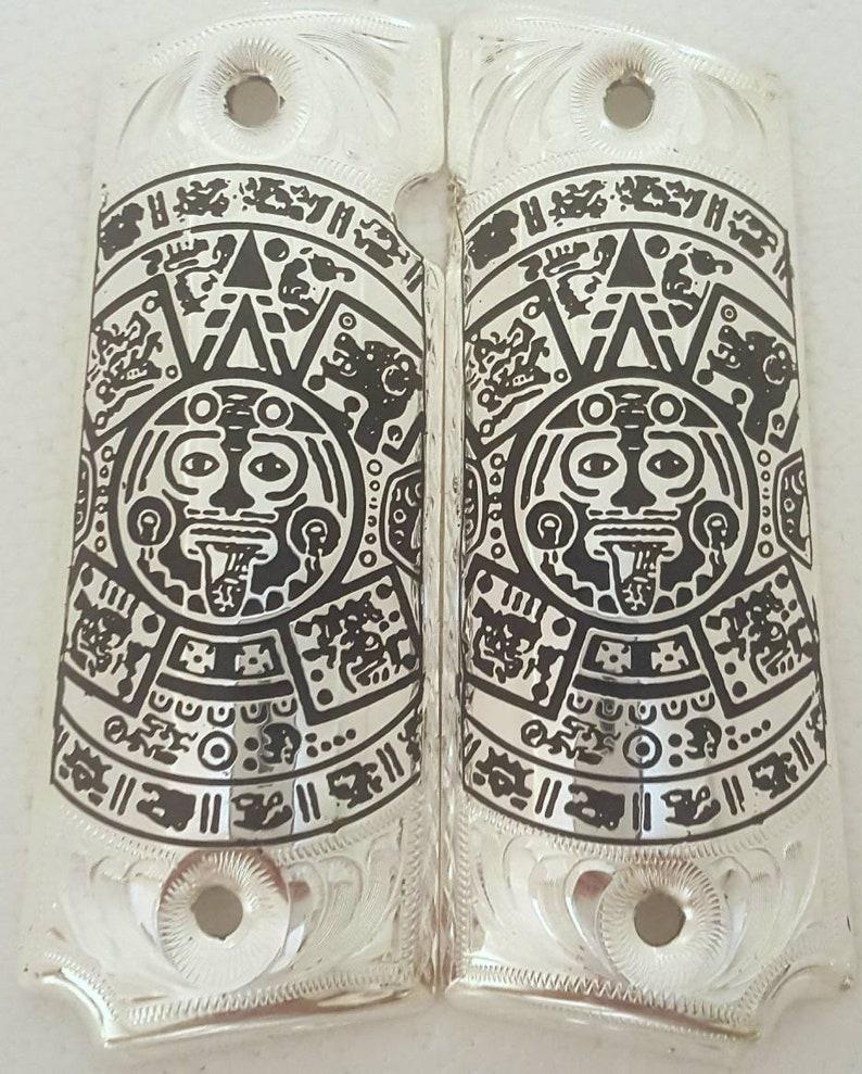 Calendario Azteca.Calendario Azteca 1911 Pistol Grips Silver Coated Cachas 1911 Chapeadas De Plata