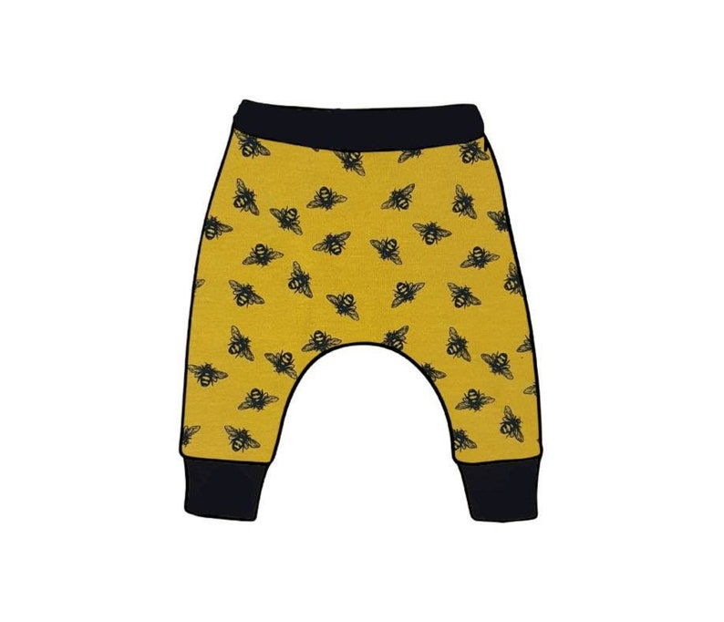 Honey Bee Baby /& Toddler Harem Leggings Handmade To Order Cloth Bum Fit Mustard Yellow Black Bee Stretch Trousers