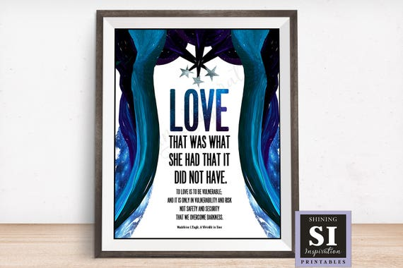 A Wrinkle In Time Quote Love Vulnerable Overcome Dark Etsy