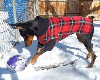 Grey and Black Lumberjack Print Warm Fleece Pullover Dog Sweater MEDIUM Dog Fleece Sweater Sweatshirt Turtleneck