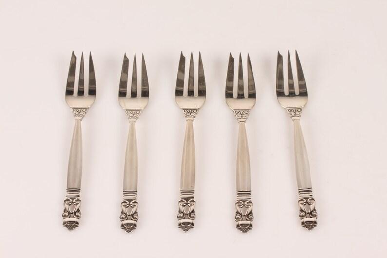 Georg Jensen - argenterie - fourchettes à gâteau Acorn - Design danois Mid Century Modern