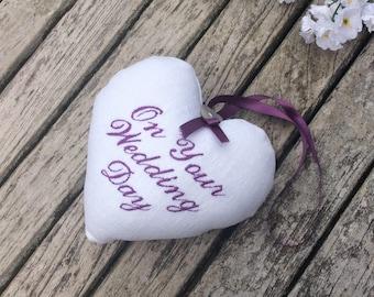 Wedding Day Gift, Embroidered Keepsake Heart, wedding memento, bride and groom gift, bridesmaid, wedding decor, personalised gift