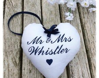 Personalised Wedding Gift, Embroidered Keepsake Heart, wedding memento, white linen heart