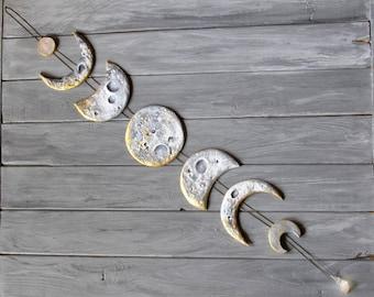 Lunar Decor Moon Phases Wall Hanging Moon Phase Garland Moon Wall Hanging Gold Moon Decor Crystal Wall Decor Gold Moon Cycle Raw Citrine