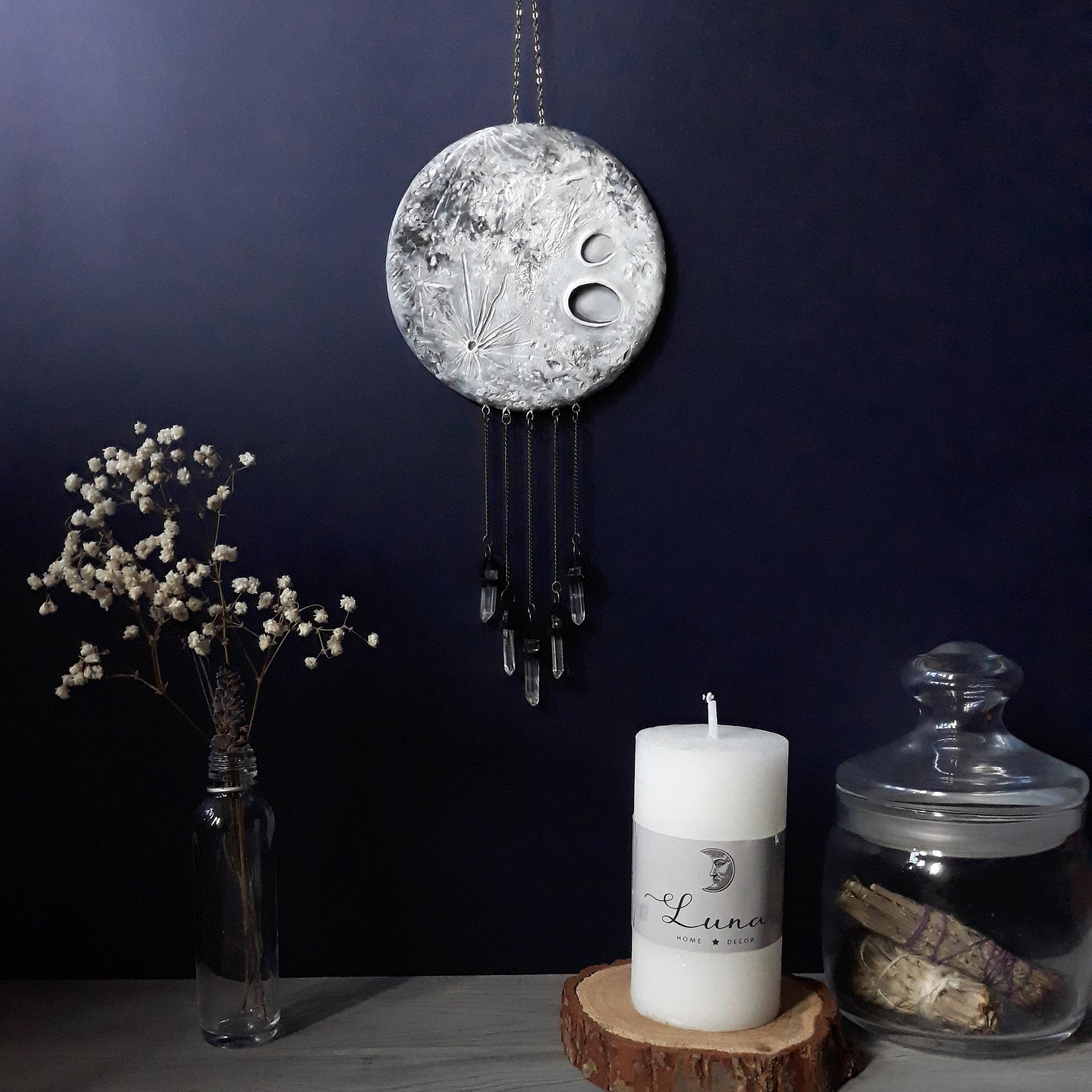 Crystal Moon Wall Hanging || Witchy Decor || Full Moon Wall Decor ||  Crystal Wall Hanging || Wiccan Decor