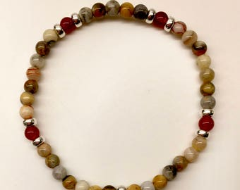 Giggle Band: Crazy Lace Agate, Red Agate and Sterling Silver.