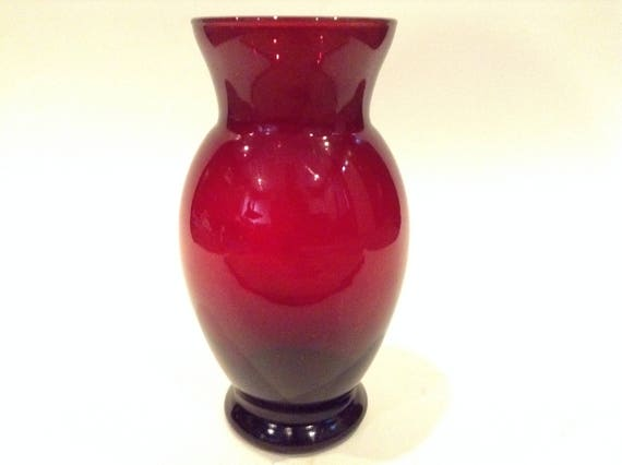 Vintage Anchor Hocking Royal Ruby Red Glass Flower Vase Home Etsy