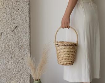 Jane Birkin Basket - small, basket with a Lid, Round Wicker Basket, Round Willow Basket, Round Basket, Jane Birkin Basket, Basket Purse.