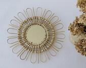 Round Wicker mirror, sunburst wall mirror, Natural home decoration, rattan mirror, Miroir Soleil, miroir en osier, pajupeili,rieten spiegel.