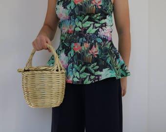 Jane Birkin Basket - small size, basket with lid, Handwoven Birkin Basket, cane bag, round basket, basket bag, summer bag, panier rond.