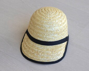 Straw Cap - kids Cap, portuguese straw, handmade, Summer Sun Hat, kids size.